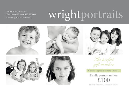 Family portrait session includes free  session and £100 towards prints or frames