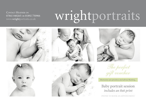 Baby portrait session includes a complimentary 8x6 print