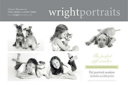 Pet portrait session includes a complimentary 8x6 print