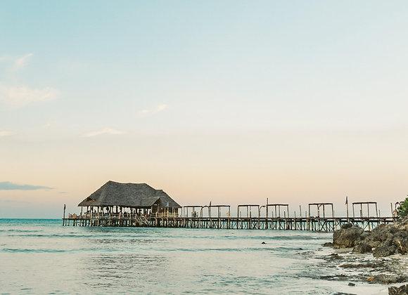 Thatched beach bar