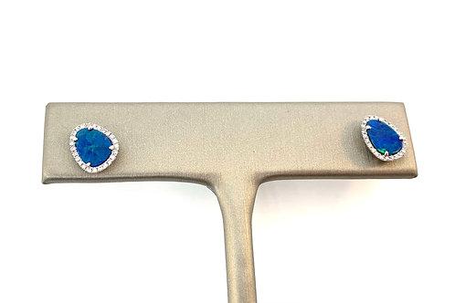 Opal and diamond stud earring