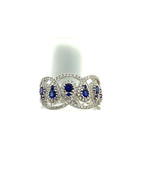 Sapphire diamond loop ring