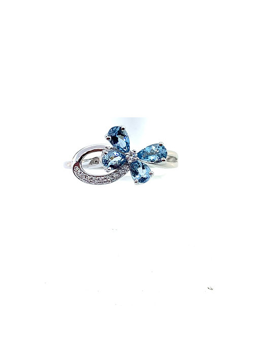 Aqua and diamond butterfly ring