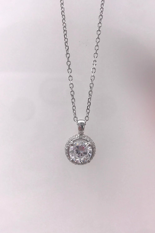 White Gold Circle Semi Pave Diamond Pendant with CZ Center