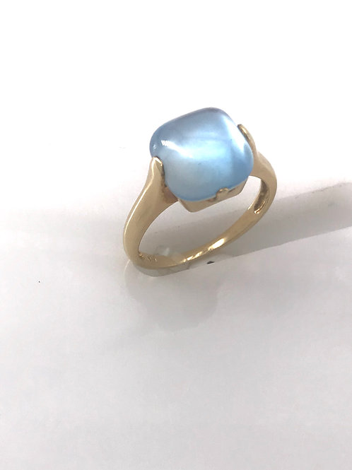 Yellow Gold Blue Stone Ring