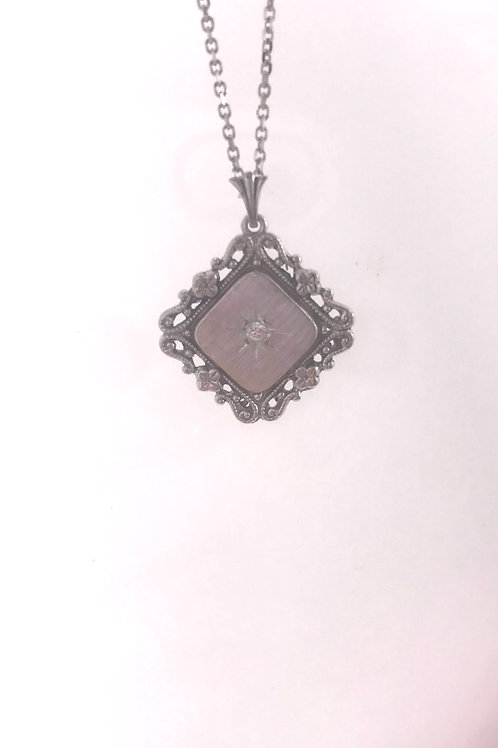 Filigree and Diamond Rhodium Pendant