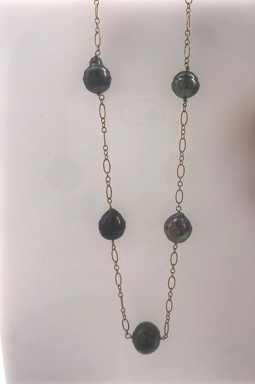 Yellow Gold Chain Black Pearl Tin Cup Necklace