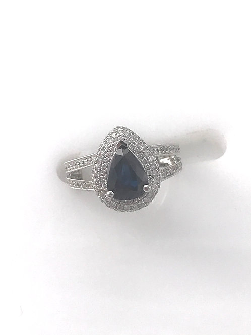 Semi Pear Shape White Gold Diamond Ring with Genuine Blue Sapphire