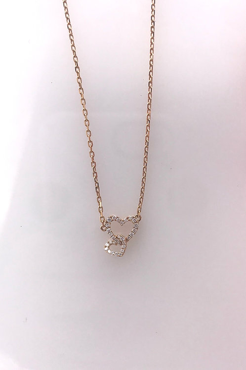 Double Diamond Heart Rose Gold Necklace