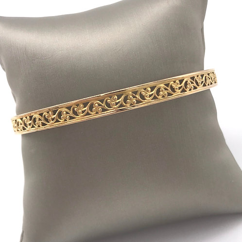 Yellow Gold Open Pattern Bangle