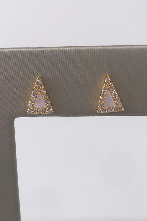 Freida Rothman Sterling Silver Triangle Stud with Mother of Pearl