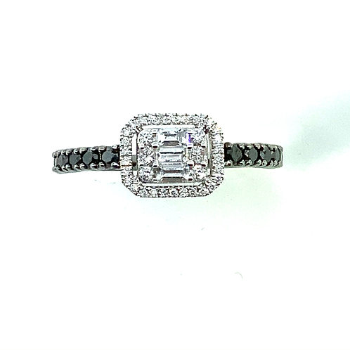 B&W diamond emerald cut mosaic ring