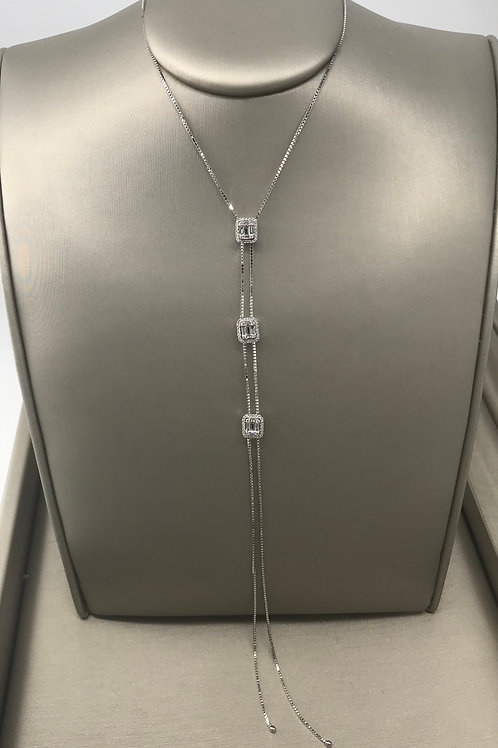 3 Section Emerald Cut Halo Diamond Larriet Necklace