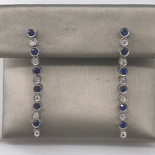 Line Sapphire Diamond Earring