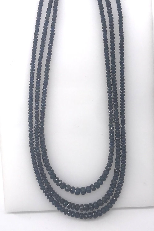 3 Strand Genuine Sapphire White Gold Clasp Necklace
