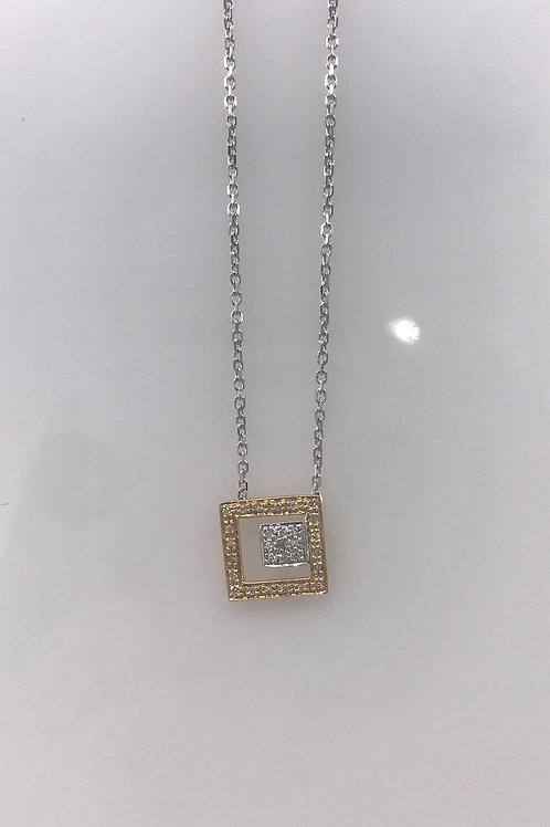 Square in Square Diamond Pendant