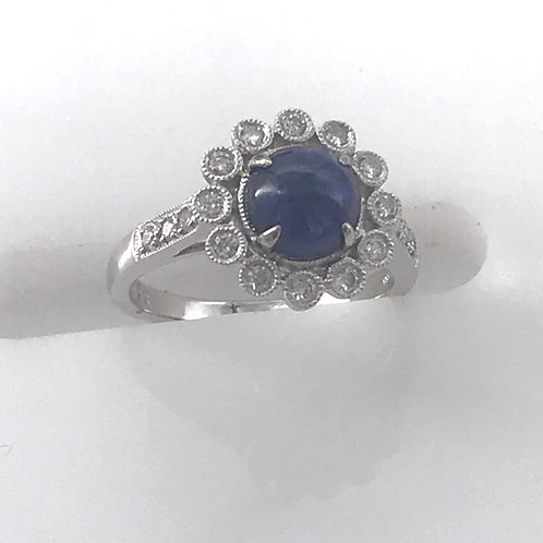 Cabochon Round Blue Sapphire Diamond Ring