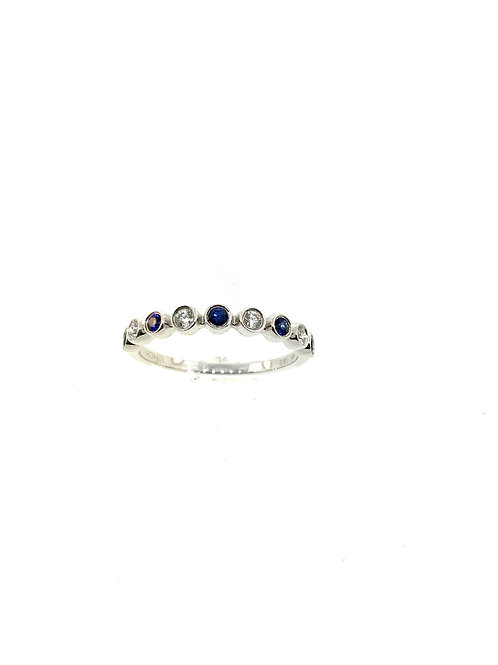 Sapphire and diamond bezel ring