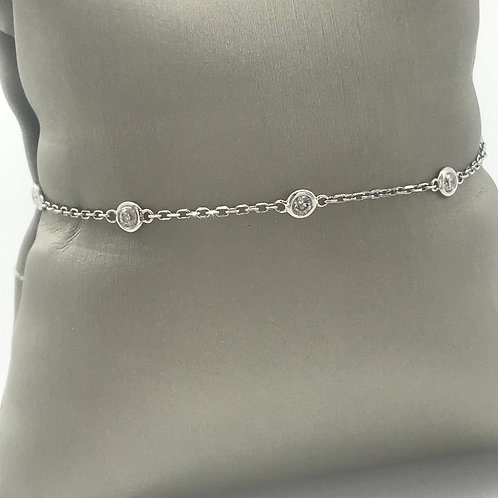 "7"" White Gold Diamond Bezel Chain Bracelet"