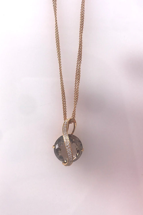 Smokey Topaz Rose Gold Diamond Pendant