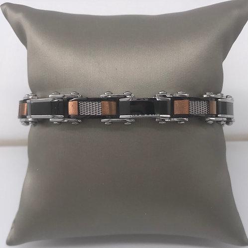 Stainless Steel Black and Greek Key Reversible Bracelet