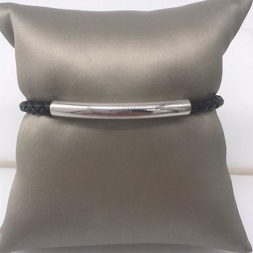 Black Leather Bracelet with Sterling Silver Bar