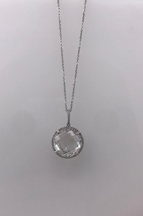 White Topaz Diamond Two Tone Pendant