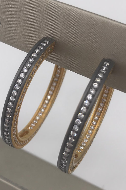 Freida Rothman Sterling Silver Two Tone Hoop with Stones