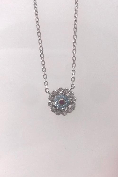 Aquamarine Milgrain Diamond Pendant