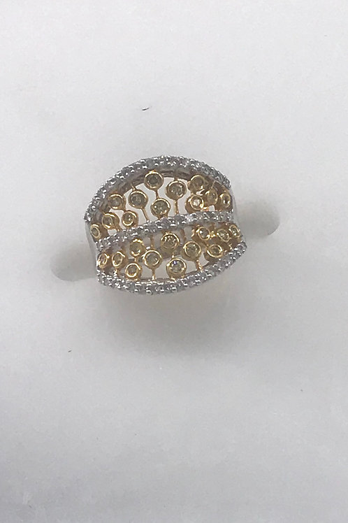 Wide Yellow White Diamond Ring