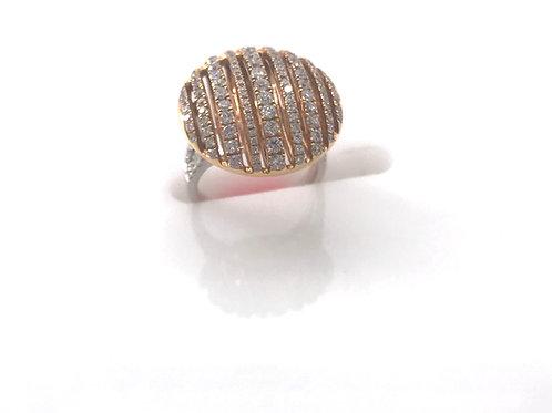 Large Circle Diamond Line Two Tone Ring