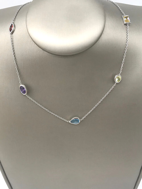 "16"" Multi Color Stone Necklace"