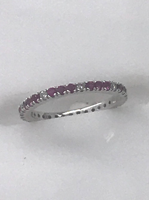 Eternity White Gold Diamond Pink Sapphire Ring
