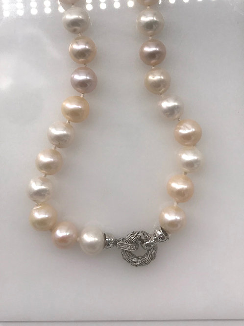 12 mm Pink White Pearl Necklace with White Gold Clasp