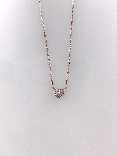 Rose Gold Pave Diamond Heart Necklace