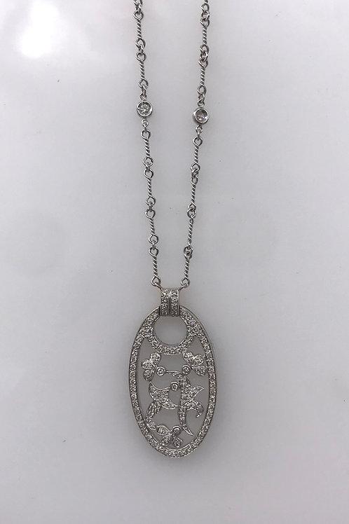 Oval Bead Set Diamond Necklace