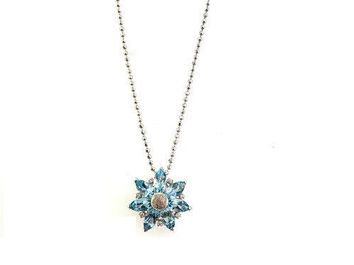 Aqua flower necklace