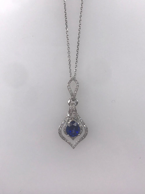 Double Drop Diamond Necklace with a Genuine Blue Sapphire