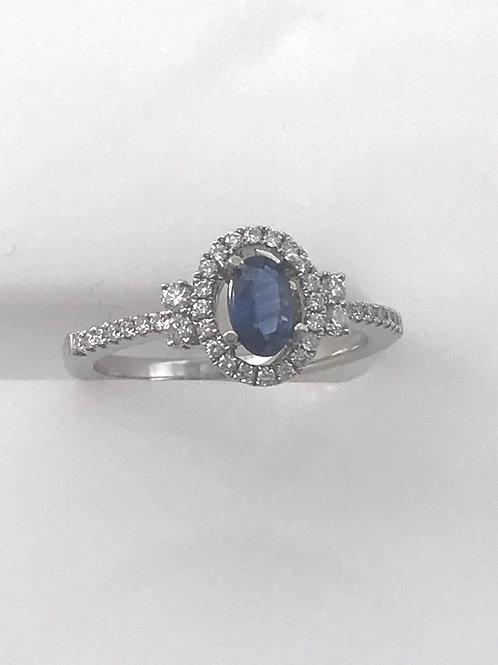 Oval Blue Sapphire Diamond Ring