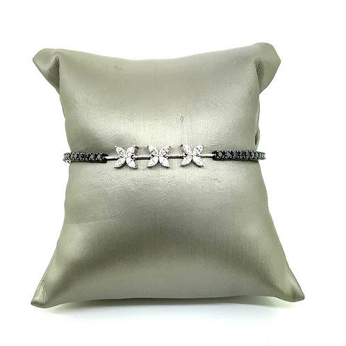 Flower shape black diamond bracelet