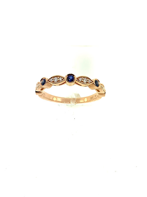 Sapphire and diamond rose gold stacker