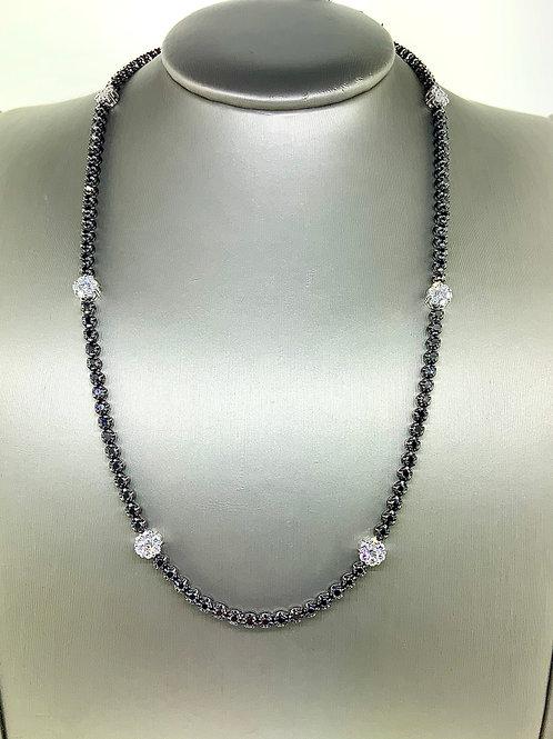 Flower tennis necklace