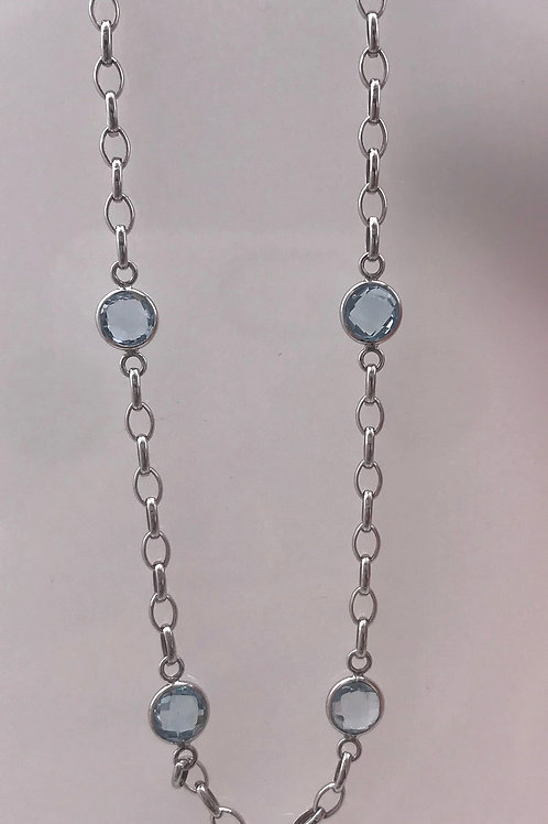 "18"" Blue Topaz Station White Gold Necklace"
