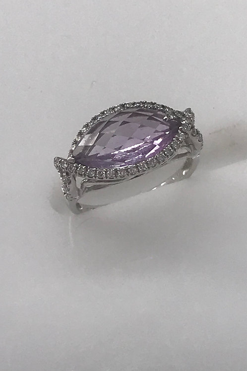 Marquee Amethyst Diamond Ring
