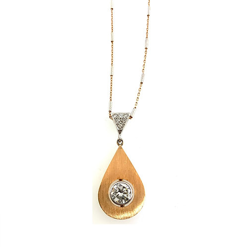 Diamond solitaire tear drop pendant