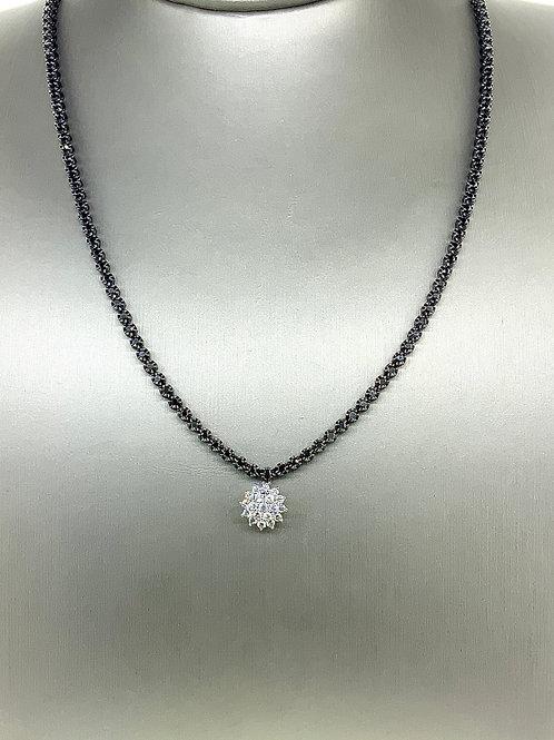 Flower burst diamond necklace