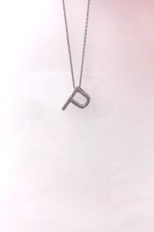 White Gold Diamond Initial P Pendant