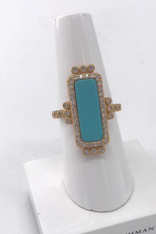Freida Rothman Sterling Silver Rectangular Turquoise Ring