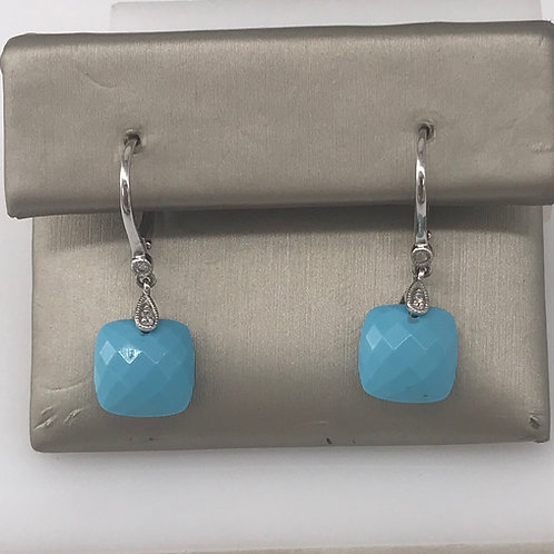 Turquoise and Diamond Drop Earring