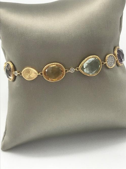 "7"" Yellow Gold Semi-Precious Diamond Bracelet"